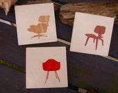 Vintage Eames Era Chair Trio Silhouettes Wood Block Art