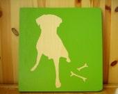 labrador dog silhouette wood block painting pet custom options