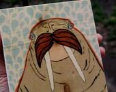 """walrus mustache blue water image transfer 5"""" x 5"""""""