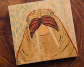 "rustic walrus mustache mini art block blue water image transfer 4"" x 4"" key hook"