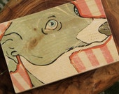 greyhound with pink stripes image transfer art print on wood