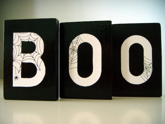 cutest halloween BOO art blocks shelf mantel decor cobwebs spiders letters black and white