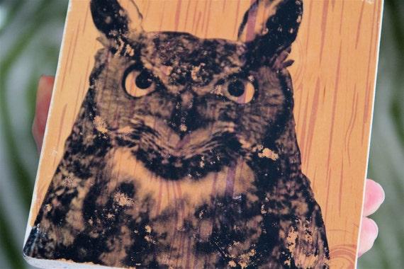 woodland horned owl image transfer art block print on wood modern