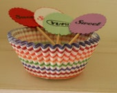 Rainbow stripe Cupcake kit baking cups liners with Sweet and or YUM picks toppers carnival