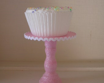 Shabby Pink glittered mini wood cupcake stand rick-rack trim so sweet