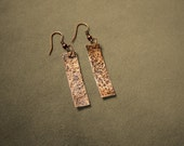 Hammered Copper Bar Earrings