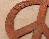 Copper Peace Sign Ornament