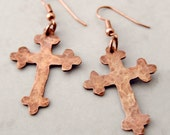 Hammered Copper Fancy Cross Earrings