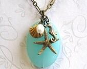 Aqua Sea Glass Nautical Necklace, shell, starfish, seahorse