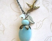 Amazonite necklace, pale blue amazonite beads, robin's egg blue