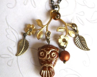 Brown owl necklace, vintage style pendant, woodland, brass charm, nature inspired