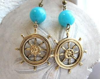 Nautical ship wheel earrings, brass charms, helm