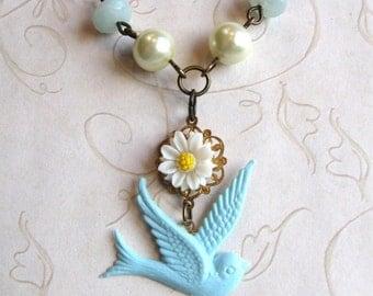 Blue Bird Necklace - white daisy - amazonite - shabby chic