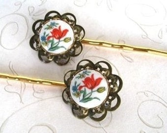 Spring Bobby Pins - red tulips - vintage glass