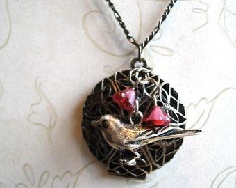 Bird locket necklace, raven silver, gun metal chain, scent locket