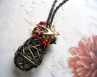 Bird Nest Necklace - nature jewelry - woodland