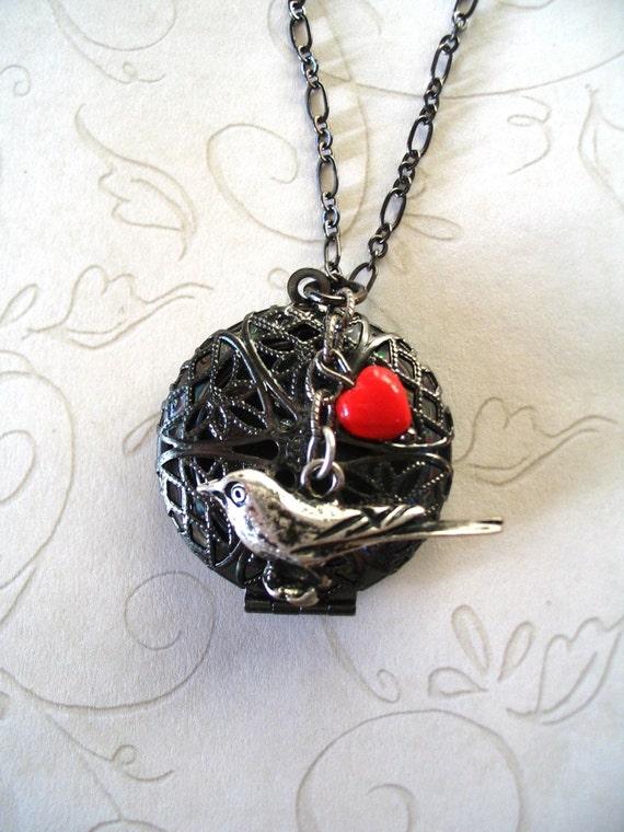 Raven locket necklace, steampunk, red heart, gunmetal chain, scent locket