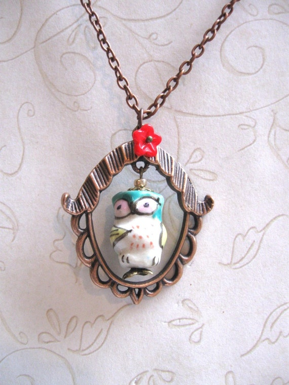 Owl Necklace - frame pendant - hand painted bead - green - whimsical