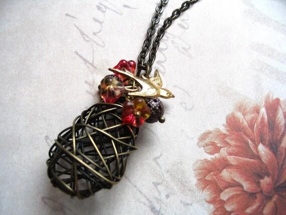 Bird Nest Necklace - nature jewelry - woodland