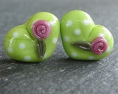 Lampwork beads 512 Hearts Pair (2) Lime Green  with Polka Dots and Pink Roses