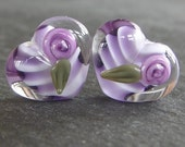 Lampwork beads 709 Hearts Pair (2) Purple with Roses