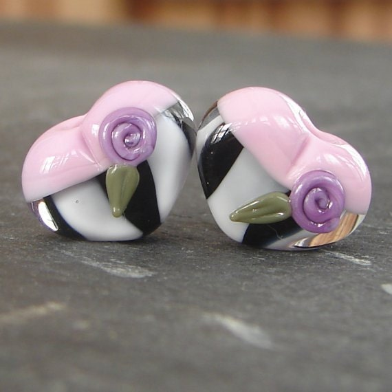 Lampwork beads 968 Hearts Pair (2) Pink, Purple, Black, and White