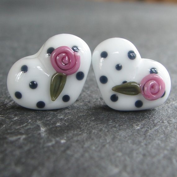 Lampwork beads 580 Hearts Pair (2) Black, White and Pink