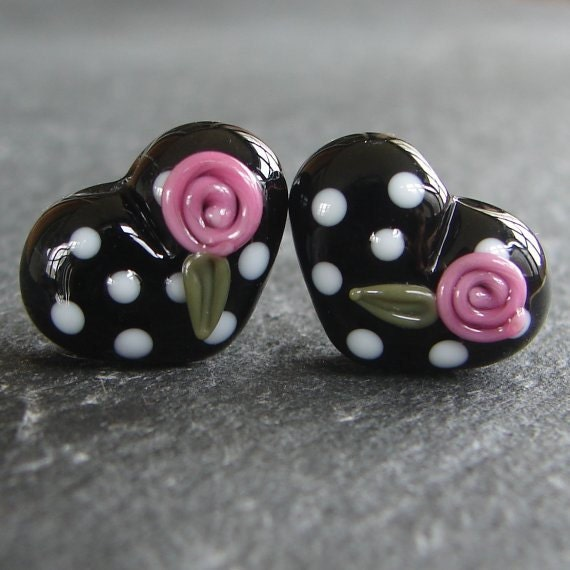 Lampwork beads 948 Hearts Pair (2) Black, White and Pink