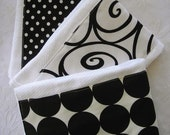 Swirls and Dots Burp Cloth Set -- Colorful, Absorbent, and So Stylish - See Shop for MORE Chic Designs