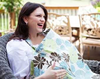 Nursing Cover  Breasfeeding Cover Up in City Girl Blue and Chocolate Daisy