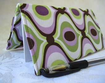 """Designer Fabric Checkbook Covers/Coupon Holders - """"GROOVY ORCHID"""""""