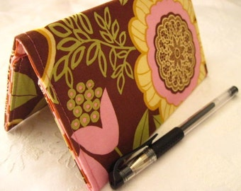 """Limited Edition - Designer Fabric Checkbook Covers/Coupon Holders -""""BROWN LACEWORK"""""""