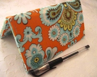 "Designer Fabric Checkbook Covers/Coupon Holders - ""ORANGE FRENCH BELLE"""
