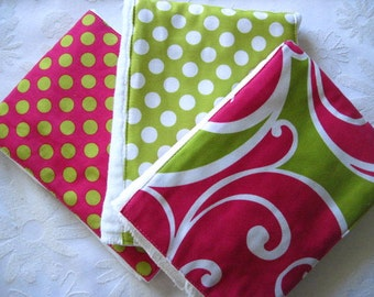 Burp Cloth Set by Ginger Snappz - Raspberry Surf - Colorful, Absorbent, and So Stylish -SEE SHOP for More Yummy Designs