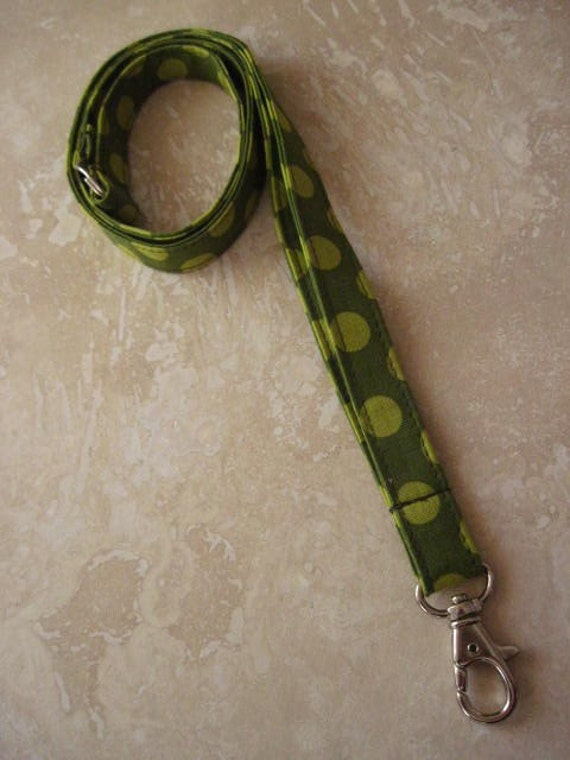 Lanyard . Badge ID Holder . Key Fob . Key Chain - Moss Dots - See Shop for MORE Yummy Prints