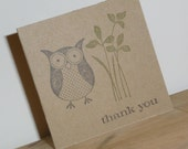 10 Mini Owl Thank You Cards made from Recycled Kraft Paper