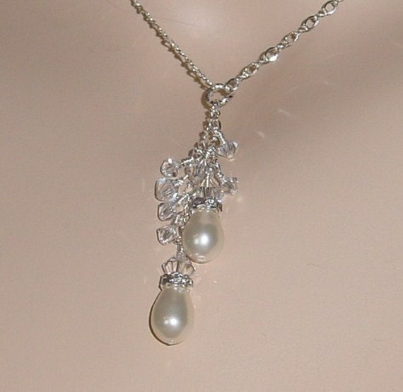 Crystal Cascade Back Drop Necklace With Pearl Drops and Earrings