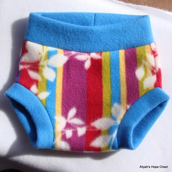 Size Medium --- Stripes and leaves Fleece Diaper Cover (((ready to ship)))