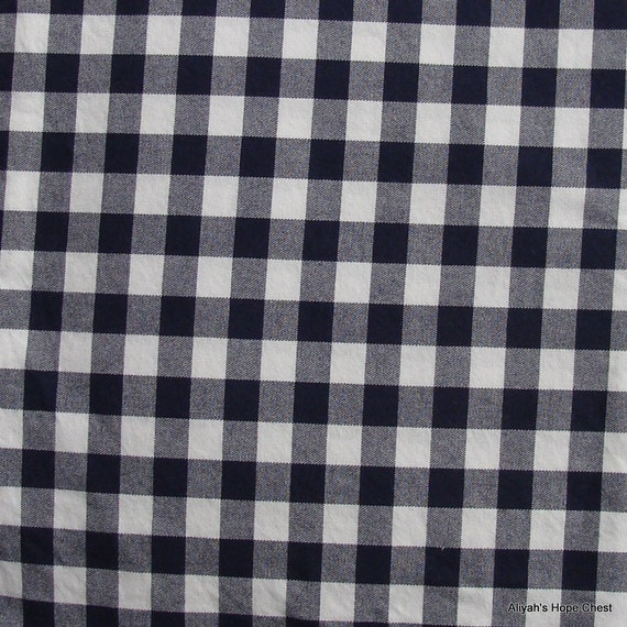 Navy and White Plaid Cotton Fabric --- 1.25 yards