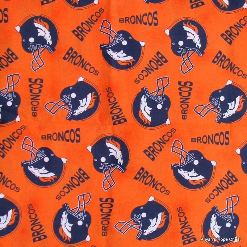 Denver Bronco Orange Cotton Fabric 1 Yard LAST ONE