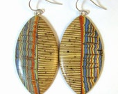 RESERVED FOR TERRY-1  Ethnic Faux Bone Distressed Finish Bargello Polymer Clay Earrings