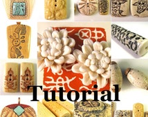 Polymer Clay Tutorial ENGLISH ONLY Digital Pdf Format Fabulous Faux Bone and Ivory - 10 Recipes, 2 Methods, 6 Projects 2 Mini Finishing Tuts