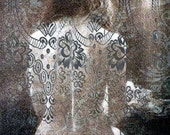 Behind lace curtains...5 x 7 digital photo fusion collage archival print