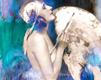 Living in a Box of Paints,  Fine Art Print, Vintage, Modern, Blue, Aqua, Indigo, Woman Portrait  8x10 Archival Giclee Print.
