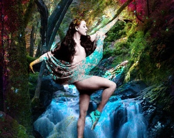 Fine Art Print, Giclee Archival Print, Photomontage, Collage, Painted Photographs, Dance Between The Heavens and Earth