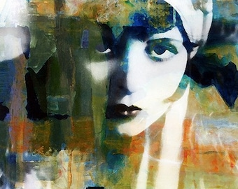 Fine Art Print, Giclee Archival Print, Photomontage, Collage, Painted Photographs, Modern Vintage Woman