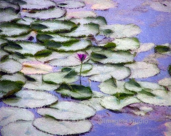 Monet, Water Lilies, Pond, Purple, Lilac, Spring Landscapes, Lotus Flowers, Home Decor, Wall Art