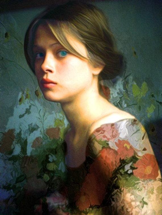 Jeune Femme avec Fleurs
