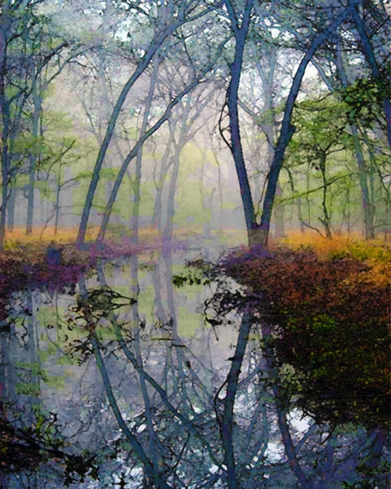 Autumn, Forest, Water, Pond, Trees, Landscape, Nature Photograph, Fine Art Painted Photograph, Giclee Print