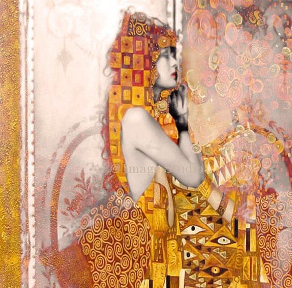 Wearing Klimt Behind Secret Doors,  Fine Art Print, Vintage, Modern,  Woman Portrait,  Archival Giclee Print.